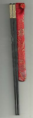 Chinese Black With Gold Dragons Chopsticks  With Free Silk--Very High Quality