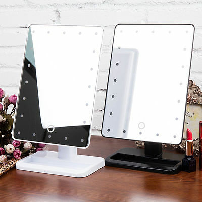 Exquisite Touch Screen 20-LED Make Up Vanity Illuminated Stand Mirror 3 Colors