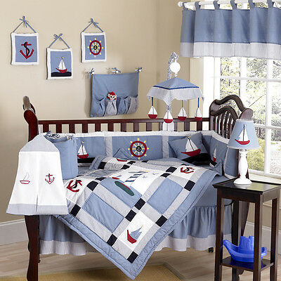 Discount Designer Nautical Boat Themed Sailing Baby Boy Crib Quilt Bedding Set