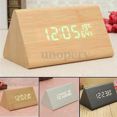 Voice Control Wooden Wood LED Digital Alarm Clock + Humidity Thermometer USB/AAA