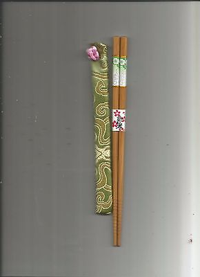 Japanese Wood With White And Green Flower Chopsticks With Free Silk Holder