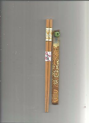 Japanese Wood With Fall Flowers Chopsticks With Free Silk Holder