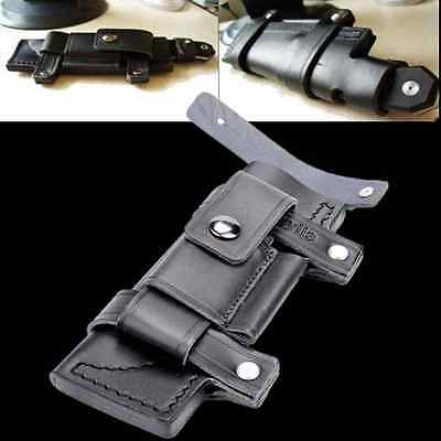 """New Straight Leather Belt Sheath For 7"""" Fixed Knife W/Pouch Knives Sheath Black"""