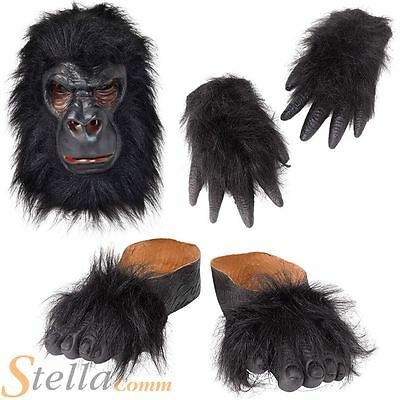 Adult Gorilla Mask Hands Feet Kit King Kong Ape Monkey Fancy Dress Costume Set