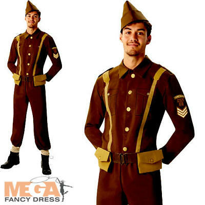 WW2 Soldier Mens Fancy Dress World War II 40s Army Officer Uniform Adult Costume