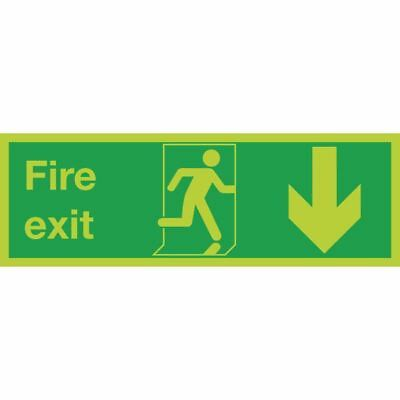 Safety Sign Niteglo Fire Exit Running Man Arrow Down 150x450mm Self-Adhesive