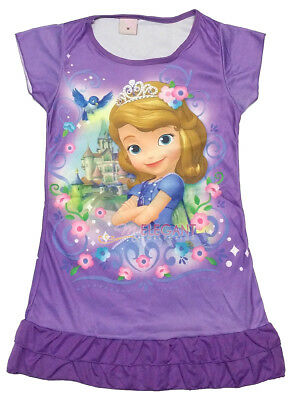 Disney Princess Sofia the First Girls Pajama Night Gown Dress 3-10 Years Purple