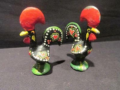 "Roosters Pair of Colorful Folk Art Figures 2 1/2"" Tall Bright Paint over Metal"