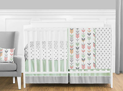 Sweet Jojo Coral Pink Grey Woodland Arrow Bumperless 4 Pc Baby Bedding Crib Set