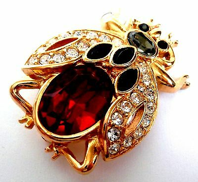 Signed Swarovski Pin Brooch Gold Plated Red Bug -Swan Logo - NOT Mint
