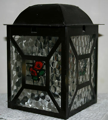 Vintage Glass & Metal Ceiling Light Shade Lamp Shade Lantern Style 1930s/40s Old