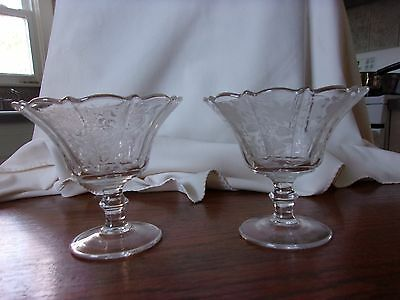 Pair Cambridge Elegant Glass Etched Wildflower Compotes