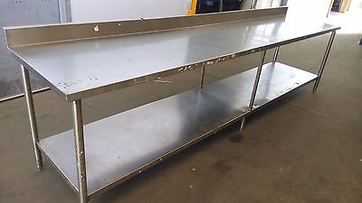 "Stainless Steel Table Commercial Work Prep w/ Back Splash 34"" X 131"" X 30.5"""