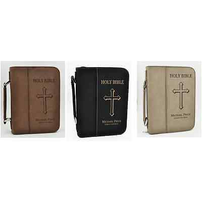 Custom Leather Bible Cover   Cross Design   Personalized Communion Gifts