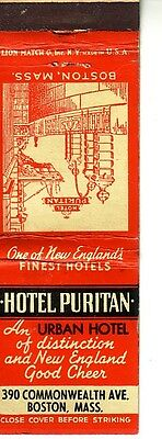 Matchbook Cover, Hotel Puritan, Boston, Massachusetts ! With Prices !