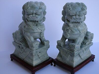 Vintage Pair Of Chinese Foo Dogs Jade Carved Sculpture Figurine 8 Inches Asian