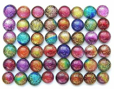 TINY RAINBOW Lot 48 pcs DICHROIC earrings scrapbooking FUSED GLASS (Y16) cab