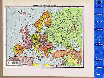 European Political Geograohical Map Vintage Swedish Map Insert 1949