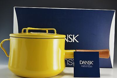 Dansk Kobenstyle 3 Qt Quart Saucepan with Lid YELLOW NEW In Box 2nd