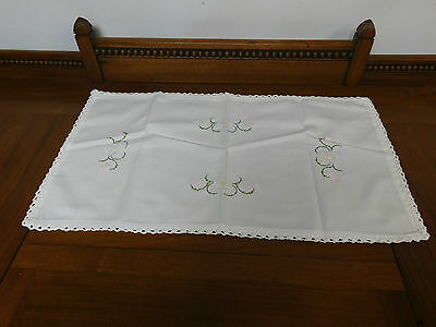 Vintage White Oblong Pink Flower Embroidered Table Runner