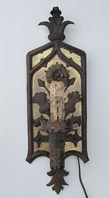 Antique Large Iron Arts & Crafts Wall Sconce w Thistle & Flower Motif