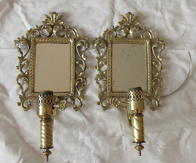 Antique Pair of Bronze Rectangular Mirror Back French Sconces Foliate Scrolls