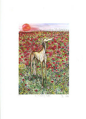 Saluki Limited Edition Print by UK Artist Elle Wilson A Moment of Truth