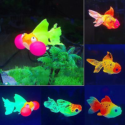 Artificial Fish Tank Floating Glowing Silicone Plastic Goldfish Underwater Decor
