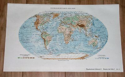 1935 Original Vintage Physical Map Of The World Africa America Asia Antarctica