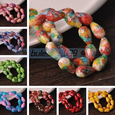 30~50pcs 8X12mm 10X15mm Teardrop Colorful Faceted Loose Glass Spacer Beads Bulk