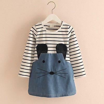 Kids Baby Girls One Picece Dress Long Sleeve Striped Skirts Cotton Costume 2-6Y