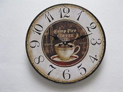 Large Wall Clock 33 cm Nostalgic Clock Antique style Coffee Coffee