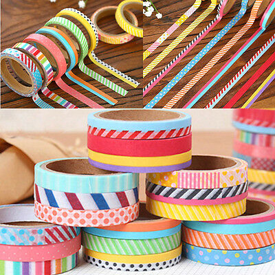 3pcs 5M DIY Paper Sticky Adhesive Sticker Scrapbooking Washi Tape Set Utility