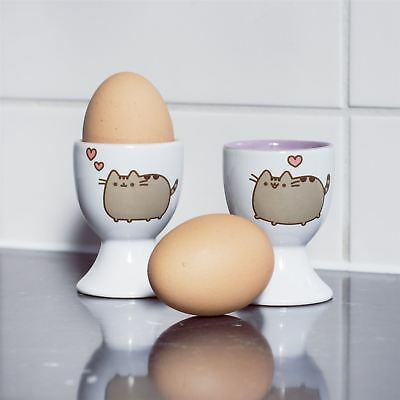 NEW Ceramic Pusheen The Cat Painted Set Of Egg Cups