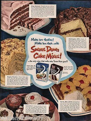 1951 SWANS DOWN Cake Mix Baking AD Vintage Food Kitchen