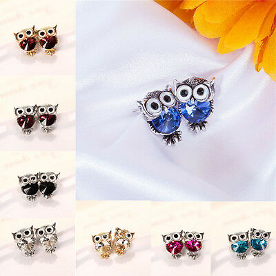 Women New 1 Pair Owl Shape Crystal Ear Stud Wedding Gift Earrings Jewelry