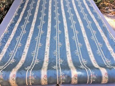 Antique or Vintage Bolt French Floral Stripe LISERE Silk Fabric Nearly 14 Yards