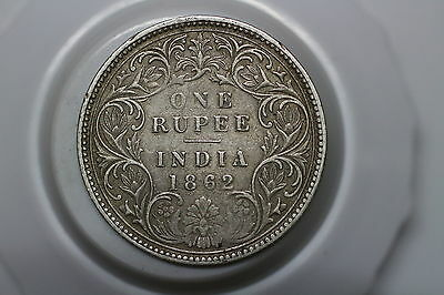 India 1 Rupee 1862 Silver Nice Details Victoria A53 #5630