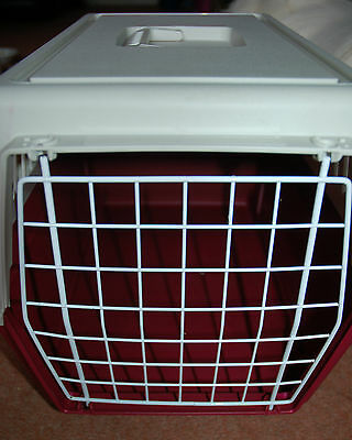 NEW! Red and Cream Pet Carrier Create Swing Handle Vents Rabbit Cat Small Dog