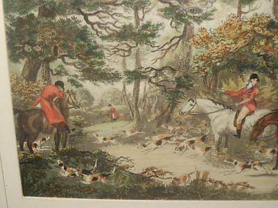 Large C19Th/20Th English School Fox Hunting Hand Coloured Aquatint Engraving