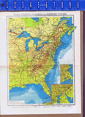 United States & Canada Vintage 2-Part Swedish Map Inserts 1949