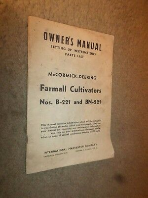 "1947 McCormick-Deering ""Farmall Cultivators"" Owner's Manual"