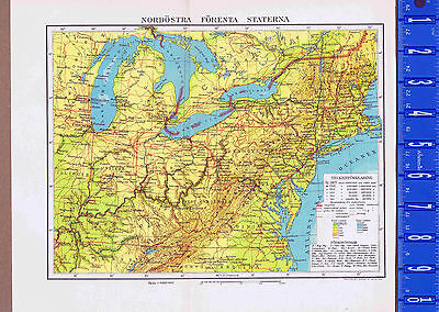 Northeast United States & Great Lakes Swedish Map Inserts 1949