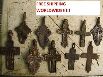 Free Shipping ! Late Medieval Period 10 Bronze Croses  #4678