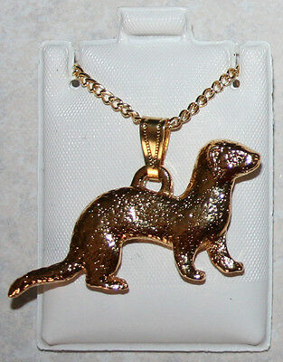 FERRET Pet 24K Gold Plated Pewter Pendant Chain Necklace Jewelry USA Made