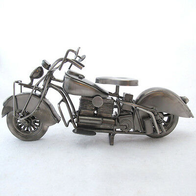 Recycled Metal Art Motorcycle Sculpture Rustic Handcrafted Mexico 11 inches long