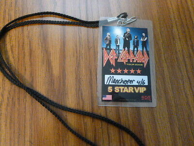 Def Leppard Manchester Nh 5 Star Vip 2008 Tour Laminate With Cord