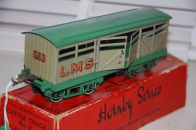 HORNBY SERIES O GAUGE No 2 CATTLE WAGON GWR LIVERY BOXED