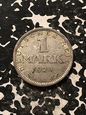 1924-A Germany Weimar Republic 1 Mark Lot#8261 Silver! Nice!
