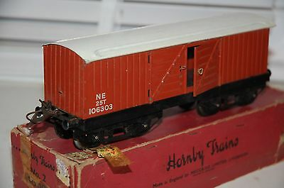 HORNBY SERIES O GAUGE No 2 LUGGAGE WAGON LNER BROWN LIVERY BOXED